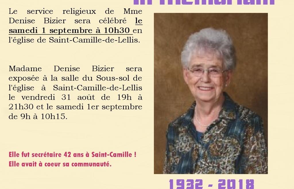 Décès et funérailles de Mme Denise Bizier